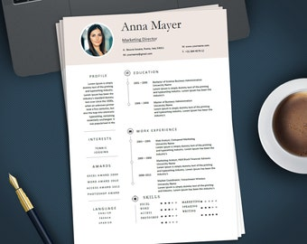 Professional Creative Resume Template for MS Word | Modern Resume Design | CV Template Design | Instant Digital Download | ANNA