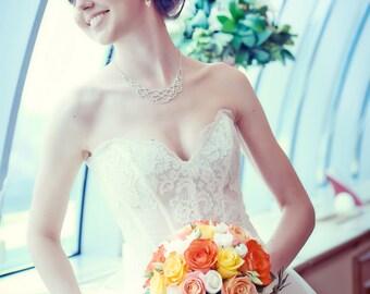 Sweetheart Wedding Corset. Ivory Wedding Lace Corset. Bridal Alencon Lace corset. Bridal Separates. Wedding top.