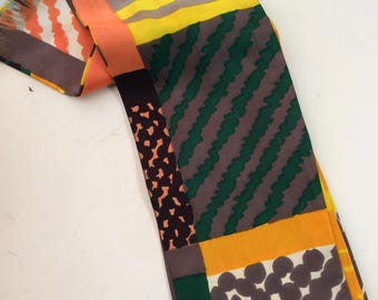 Vintage Geometric Silky Scarf Yellow, Orange, Green, Gray, White with Chevrons, Strips, and Dots