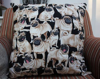 Pugs Cushion Cover, Pugs Cushion, Dogs Cushion Cover, Pugs, Housewarming Gift, Birthday Present