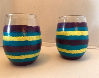 Stemless wine glasses, set of 2, bright colors of purple, yellow and teal