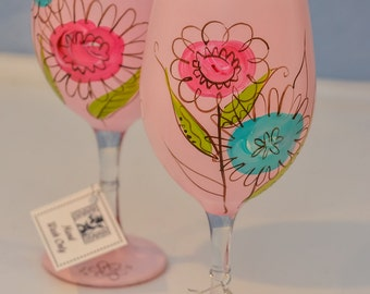 Hand Painted Wine Glasses - Set of 2