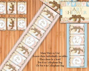 Bear Necessities - Baby Shower Printable Hershey Nugget Wrappers Kit - Instant Download