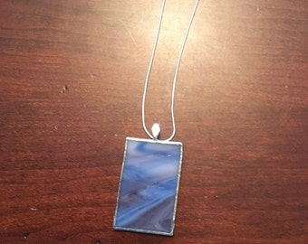 Stained glass necklace blue, white and brown