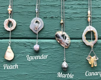 SALE Agate Slice Necklace || Geode Necklace || Boho Necklace