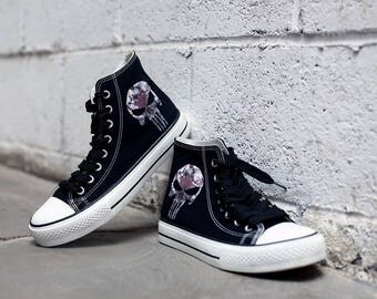 Skull shoes Custom Black Sneakers skull Hi Tops shoes Birthday gift