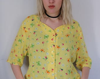 Yellow Vintage Blouse with Cherries and Flowers