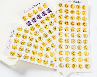 12 Sheets Emoji Expressions Stickers ~ Funny Stickers, Kawaii, Stationery, Scrapbooking, Emoji Decorative DIY Collage Planner Sticker, Gift