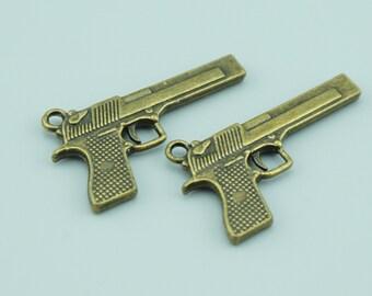 10pcs 20x35mm Antique Bronze Gun Charm Pendants,Weapon Charm Pendants ZC1600