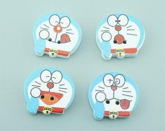 100pcs 23x23.5mm Mixed Colors Cat Wood Buttons,Cartoon Wooden Buttons NK007