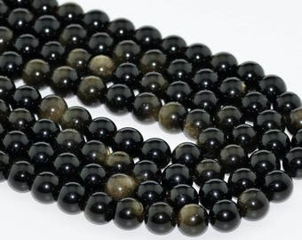 "8MM Golden Obsidian Natural Gemstone Full Strand Round Loose Beads 15.5"" (100712-310)"