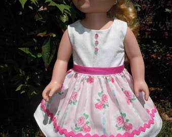 Pink and white flowered dress, matching shoes. Fits like American Girl doll clothes, 18 inch doll clothes, AG doll clothes, doll clothes