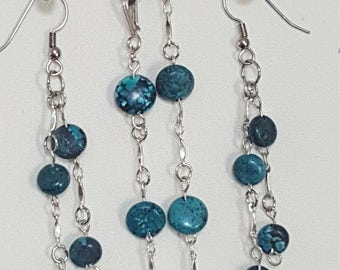 Turquoise bracelet and drop earrings
