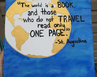 The World is a Book Quote Custom Canvas
