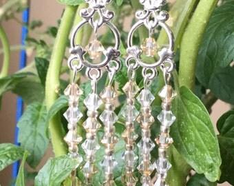 Long Chandelier Earrings Swarovski Crystal Earrings Champagne Sterling Silver