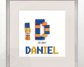 Personalised Lego initial & name in frame
