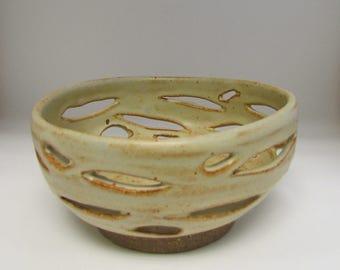 Tan Orchid Pot/Planter/Berry Bowl