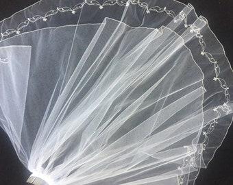 White wedding veil,Bridal veil, two tiered wedding veil,beaded veil,silver edging two layer veil
