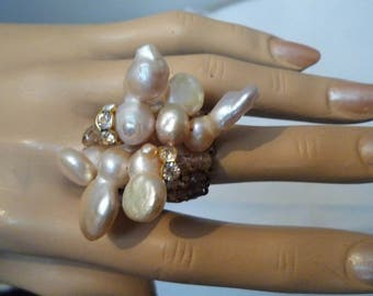 Ring Stone Jewelry Haute Couture Hand Made, one kind of, women,hand made,baroque, Water Pearls