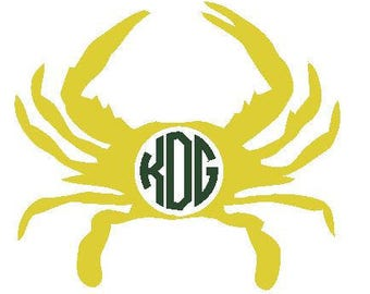Crab with Initials Drink Hugger