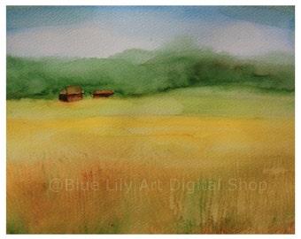 Golden Field Landscape painting – Watercolor Print – Instant Download, Meadow Watercolor
