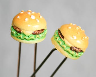 Tiny Cheeseburger Hair Pins