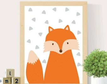 Fox print Woodland nursery Nursery wall art Woodland animals Scandinavian print Woodland print Baby room wall art Nursery decor