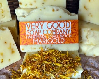 Marigold Soap // Cold Process Soap // All Natural Calendula Silk Soap // Vegan Soap
