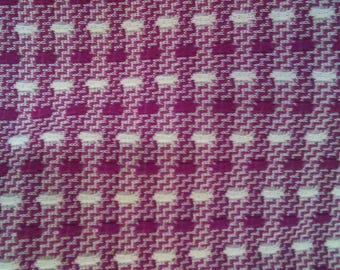 Double Knit Maroon and White Vintage Fabric