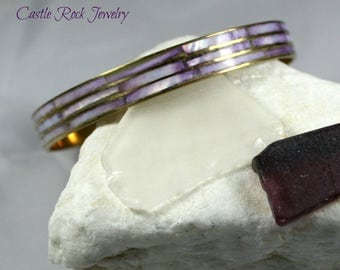Mother of Pearl and Copper Bangle Bracelet.  Lavender in Color.