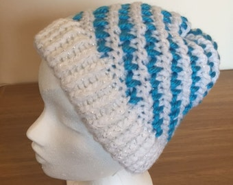 Lovely Ladies White and Turquoise Spiral Pattern Hat