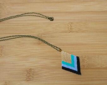 Beaded Diamond Necklace- Gold, Teal, Sky Blue & Black