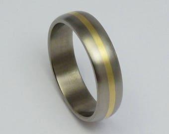 Titanium 14 carat gold ring, weddingring, engagementring.