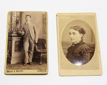 FREE SHIPPING SALE: Pair of Carte De Visite Photographs Antique Old Photos - Antique Photography
