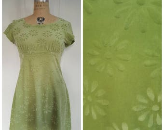 Vintage 1990s does 60s All That Jazz lime green floral velvet dress, mod mini dress,  size medium