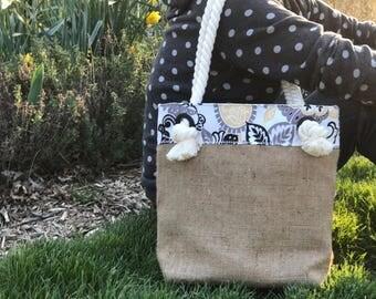 Floral and Burlap Market Bag