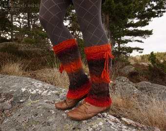 Lava Coloured Knitted Leg Warmers