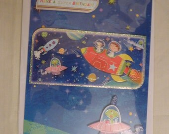 Space alien birthday card.  A5