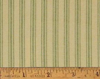 "Garden Green Stripe Homespun Cotton Fabric (Full Yard 36"" x 44"")"