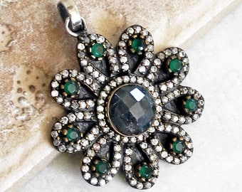 Vintage Emerald Pendant - Sterling Silver and Emerald Pendant - Vintage Emerald and Topaz Pendant - Green Pendant - Roca Fine and Dandy