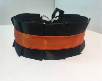 Pleated Satin Collar- Orange