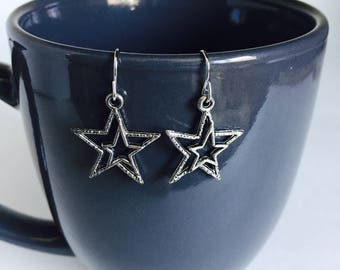 Star Earrings - Tibetan Silver - Dangle