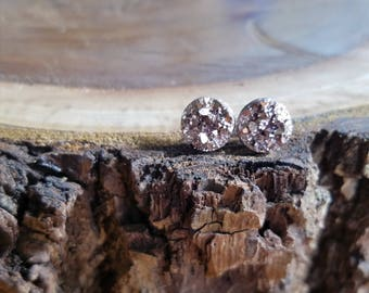10mm Rose gold faux druzy posts, titanium posts