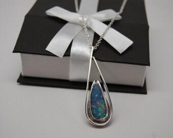 Boulder Opal sterling silver necklace