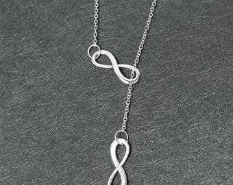 Double Infinity necklace, silver necklace - beautiful silver necklace - Infinity necklace, minimalist, infinite love,silver infinity
