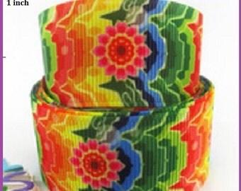 1 x Metre, Tie Dye, 1 inch, 25mm, Grosgrain. Ribbon