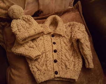 Fabulous hand knitted Aran and matching hat