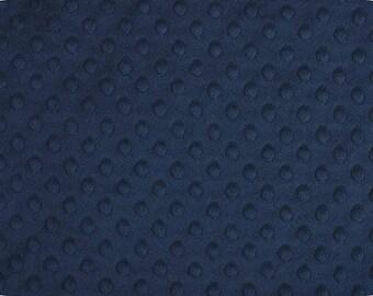 Navy Minky Fabric, Shannon Minky Fabric, Navy Dimple Dot Minky Fabric, Minky Fabric by the Yard