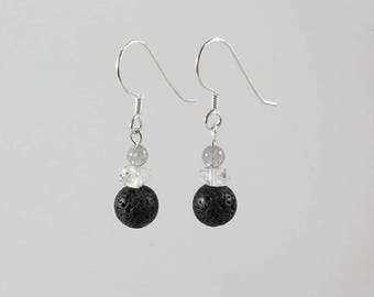 Lava Earrings, Herkimer Diamonds