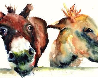 Donkey Watercolor Print